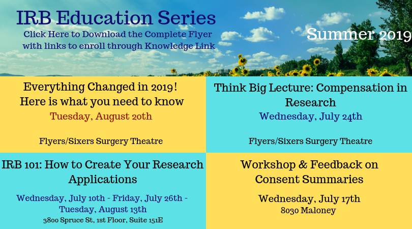 IRB Summer Educational Series Flyer 2019